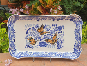 "Butterfly Tray / Serving Rectangular Platter 16.9""x10.6"" Blue"