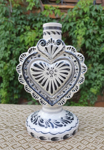 "Love Heart Candle holder 7.7"" H Black"