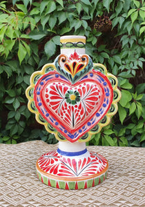 "Love Heart Candle holder 7.7"" H MultiColors"