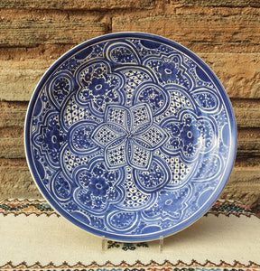 Decorative Platters Morisco III Pattern Blue and White
