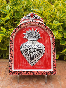 "Decorative Sacred Heart AltarPiece 8.9"" Height Red-Black"