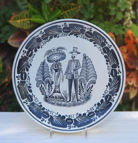 Catrina Couple Decorative Deep Round Platters Black and White