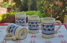 Espresso Mug 3.7 Oz Set of 4 Blue and White