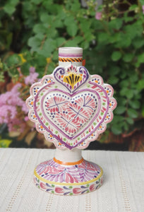 "Love Heart Candle holder 7.7"" H Purple Colors"