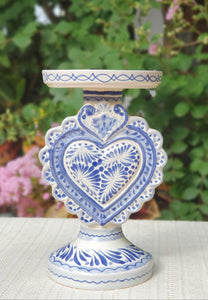 "Love Heart 4.5"" Candle holder 7.7"" H  Blue"
