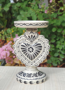 "Love Heart 4.5"" Candle holder 7.7"" H Black and White"