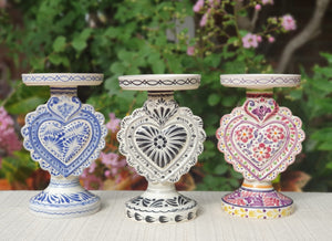 "Love Heart 4.5"" Candle holder 7.7"" Set (3 pieces) MultiColors"