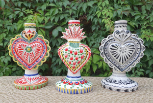 "Heart Candle holder 7.7"" Set (3 pieces) MultiColors"
