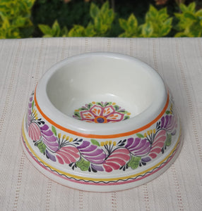 "Flower Large Dog Bowl  11.2 X 3.9"" Purple Colors"