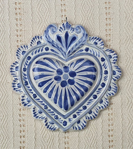 "Ornament Love Heart 5*5"" Blue and White"
