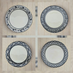 "Salad Plate 8.7"" D Set (4 pieces) Black and White"