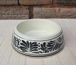 "Small Dog Bowl  8.2""D X 2.5"" H Black and White"