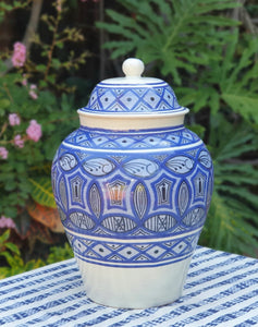 Decorative Vase w/Lid Morisco Pattern Blue and White