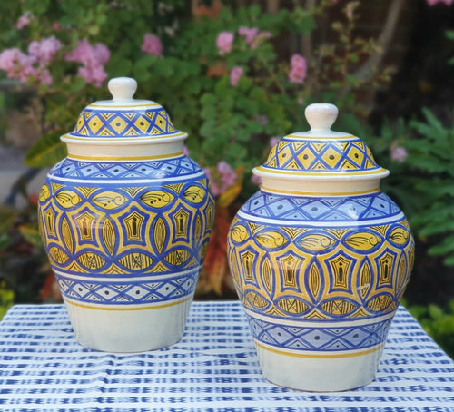 Decorative Vase w/Lid Set of 2 pieces (15, 16.5 in H) Morisco Pattern Multi-colors