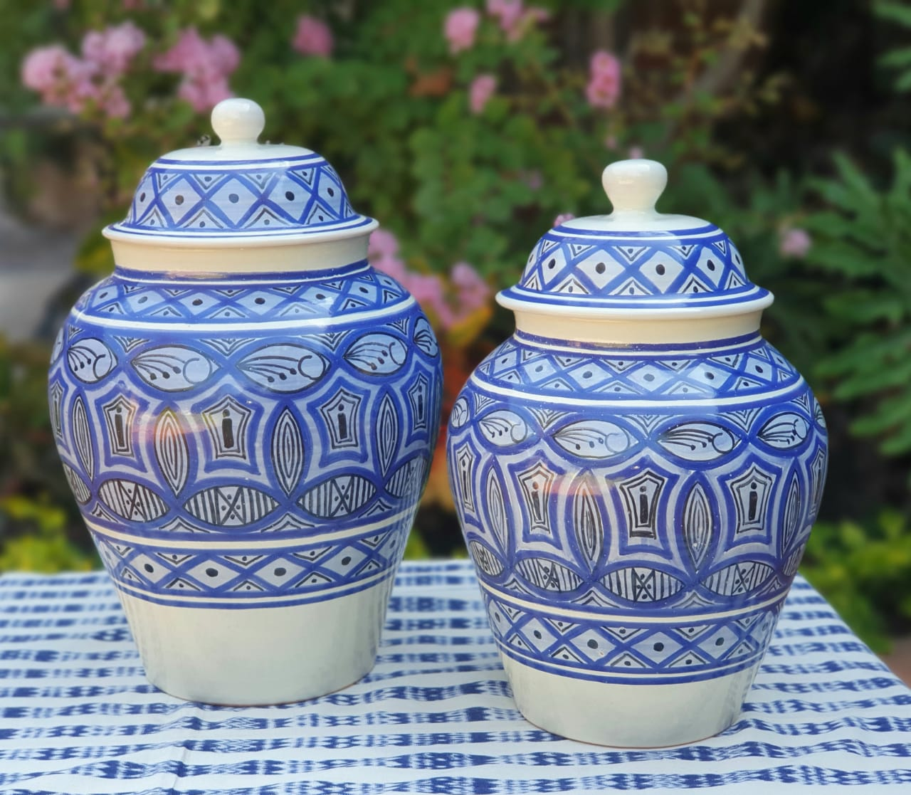 Decorative Vase w/Lid Set of 2 pieces (15, 16.5 in H) Morisco Pattern Blue and White