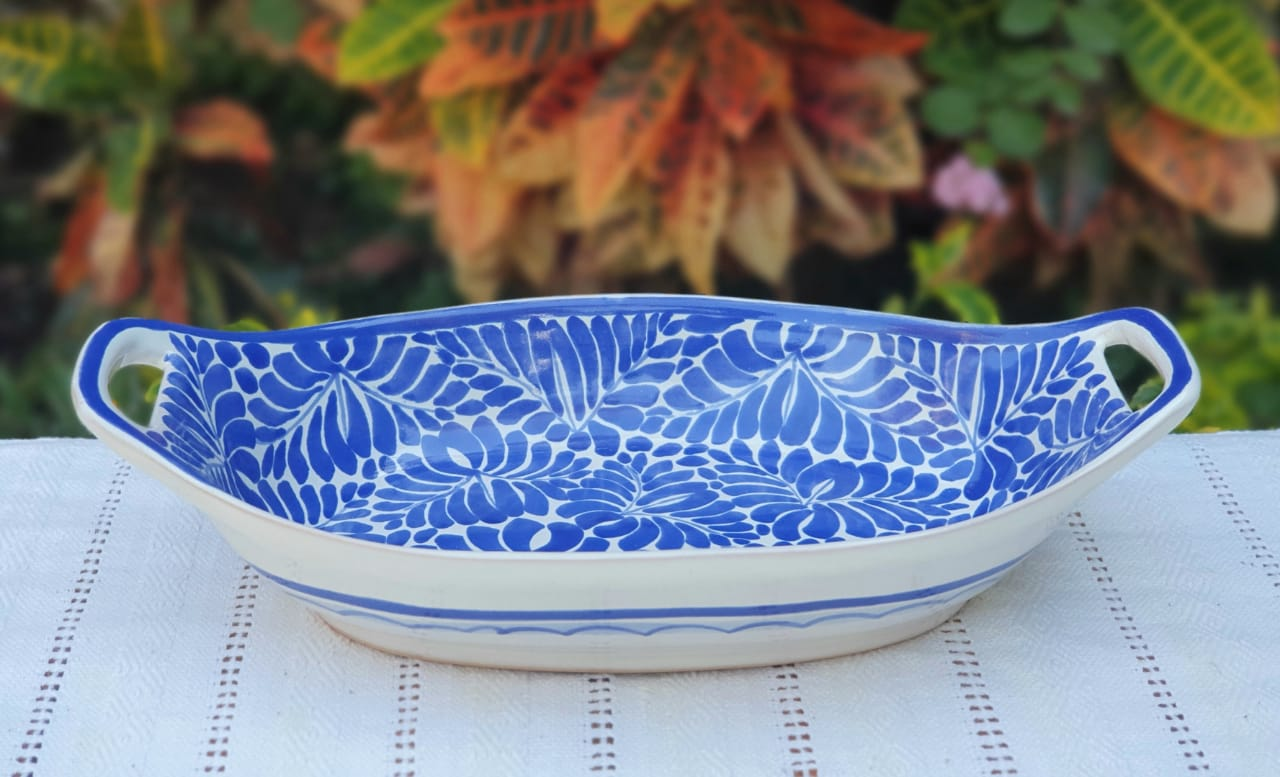 Oval Bowl with handles / Serving Salad Piece Milestones Blue and White