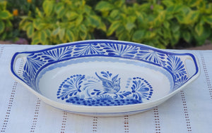 Bird Oval Bowl with handles / Serving Piece Blue