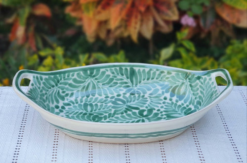 Oval Bowl with handles / Serving Piece Green Colors
