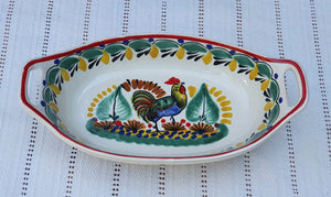 Rooster Oval Bowl with handles / Serving Piece MultiColors