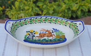 Deer and Rooster Oval Bowl with handles / Serving Piece Set of 2 MultiColors