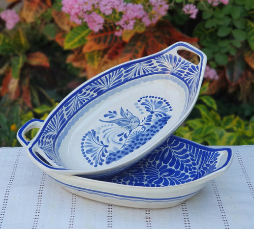 Bird and Milestones Oval Bowl with handles / Serving Piece Set of 2 Blue and White