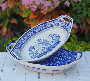 Bird and Milestones Oval Bowl with handles / Serving Piece Set of 2 Blue