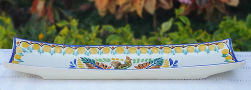 Rooster Canoe Snack Dish 17.7 in L MultiColors