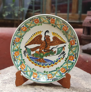 "Mexican Eagle Decorative / Serving Flat Platter 13.8"" D Multi-colors"