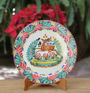 "Deer Charger Dinner Plate 12"" D Green-Red Colors"