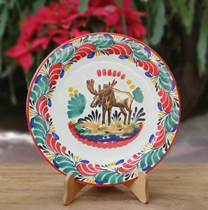 "Moose Charger Dinner Plate 12"" D Green-Red Colors"