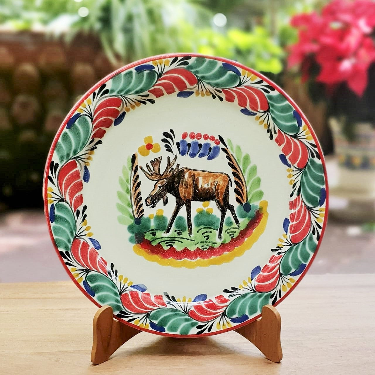 Moose Christmas Plates Multi-colors