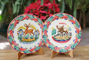 Deer and Moose Plates Sets of 2 Pieces Multi-colors