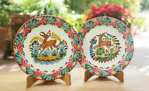 "Deer Charger Dinner Plate Set of 2 Green-Red Colors 12"" D"
