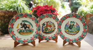 "Moose Deer and Bird Charger Dinner Plate Set of 3 Green-Red Colors 12"" D"