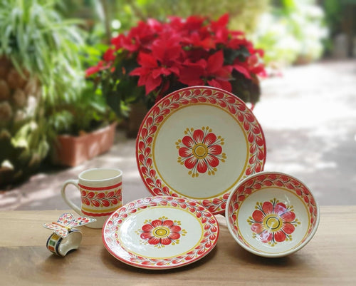 Red Flower Dish Set (5 pieces) Red-Yellow Colors (One Service)