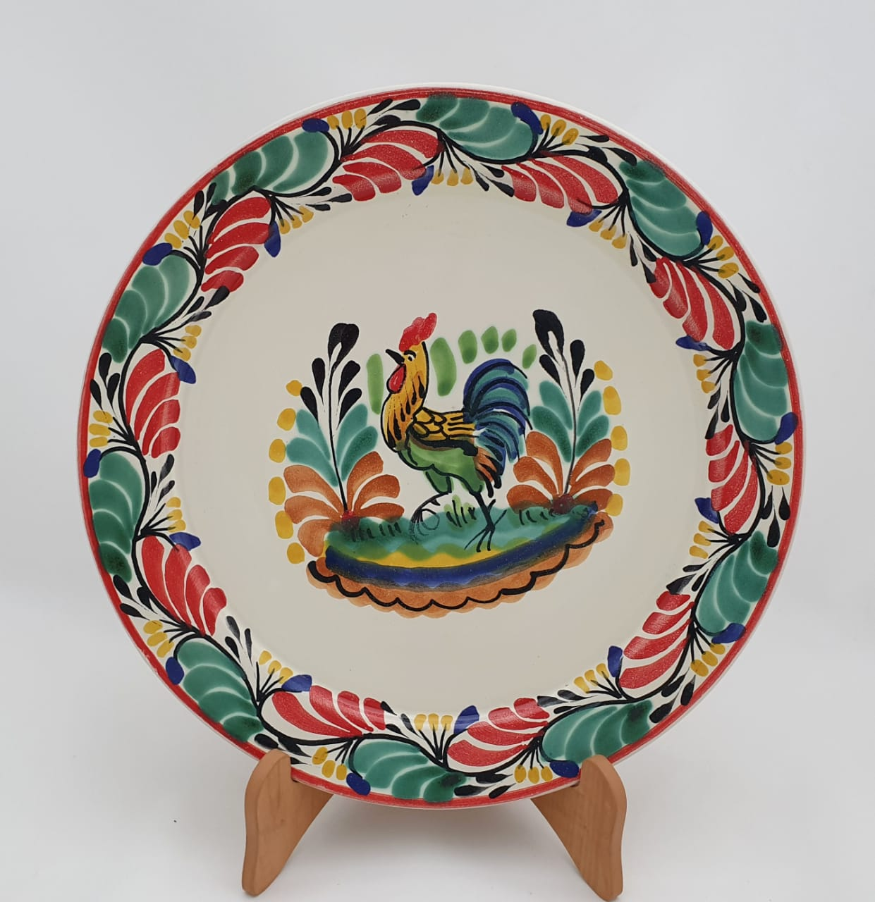 Rooster Christmas Plates Multi-colors