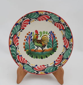 "Rooster II Salad Plate 8.7"" D Green-Red Colors"