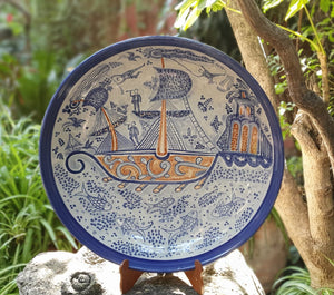 Decorative Platters Ship Pattern Blue Colors