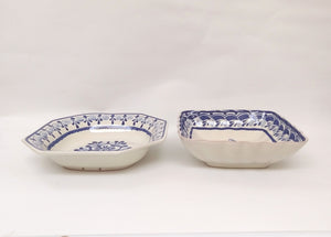 Flower Set Salad Bowl of 2 in Blue and White