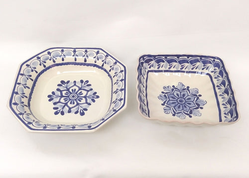 Set Salad Bowl of 2 in Blue and White
