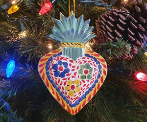 Ornament Sacred Heart flowers Multi-colors