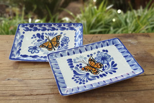 "Butterfly Bread Rectangular Plate / Tapa Plate 5.5 x 3.9"" Blue and White"