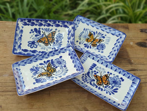 "Butterfly Mini Rectangular Tray 3.9 X 5.5"" Set of 4(Pieces) Blue and White"