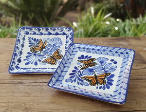 "Butterfly Bread Square Plate / Tapa Plate 5*5"" Set of 2 Blue and White"