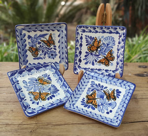 "Butterfly Bread Square Plate / Tapa Plate 5*5"" Set of 4 Blue and White"