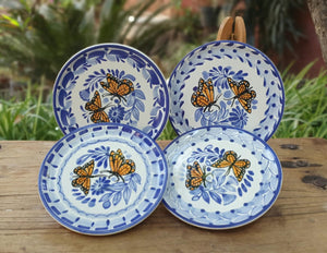 "Butterfly Bread Plate / Tapa Plate 6.3""D Set (4 pieces) Blue and White"