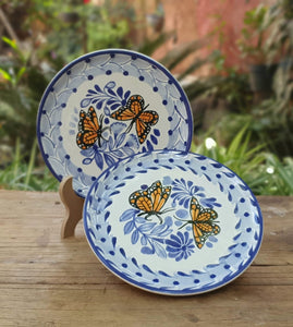 "Butterfly Bread Plate / Tapa Plate 6.3"" D Set of 2 Blue and White"