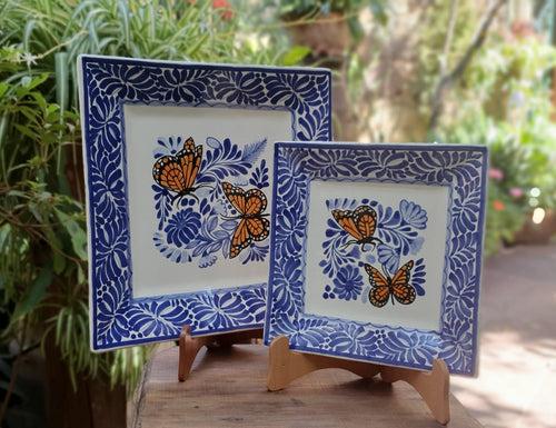 Butterfly Square Plates Set of 2 Blue and White