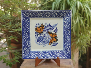 Butterfly Square Plate Blue and White