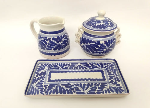 Sugar and Cream Set of 3 pieces Milestones Blue and White
